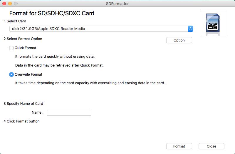 Format SD Card On Mac Via SD Card