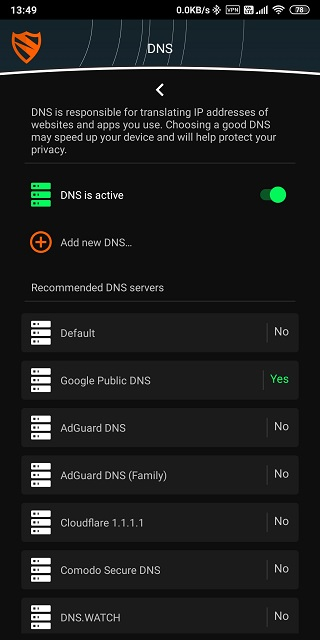 android feature to block websites with Open DNS
