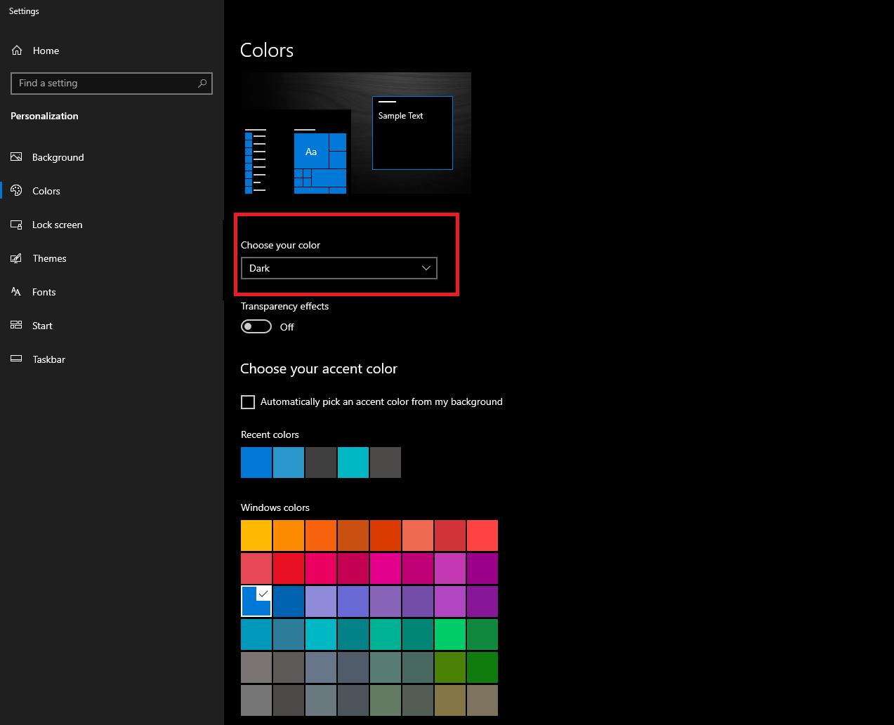 Custom Desktop Background Color