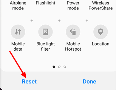 How to reset the quick setting menus on Android?