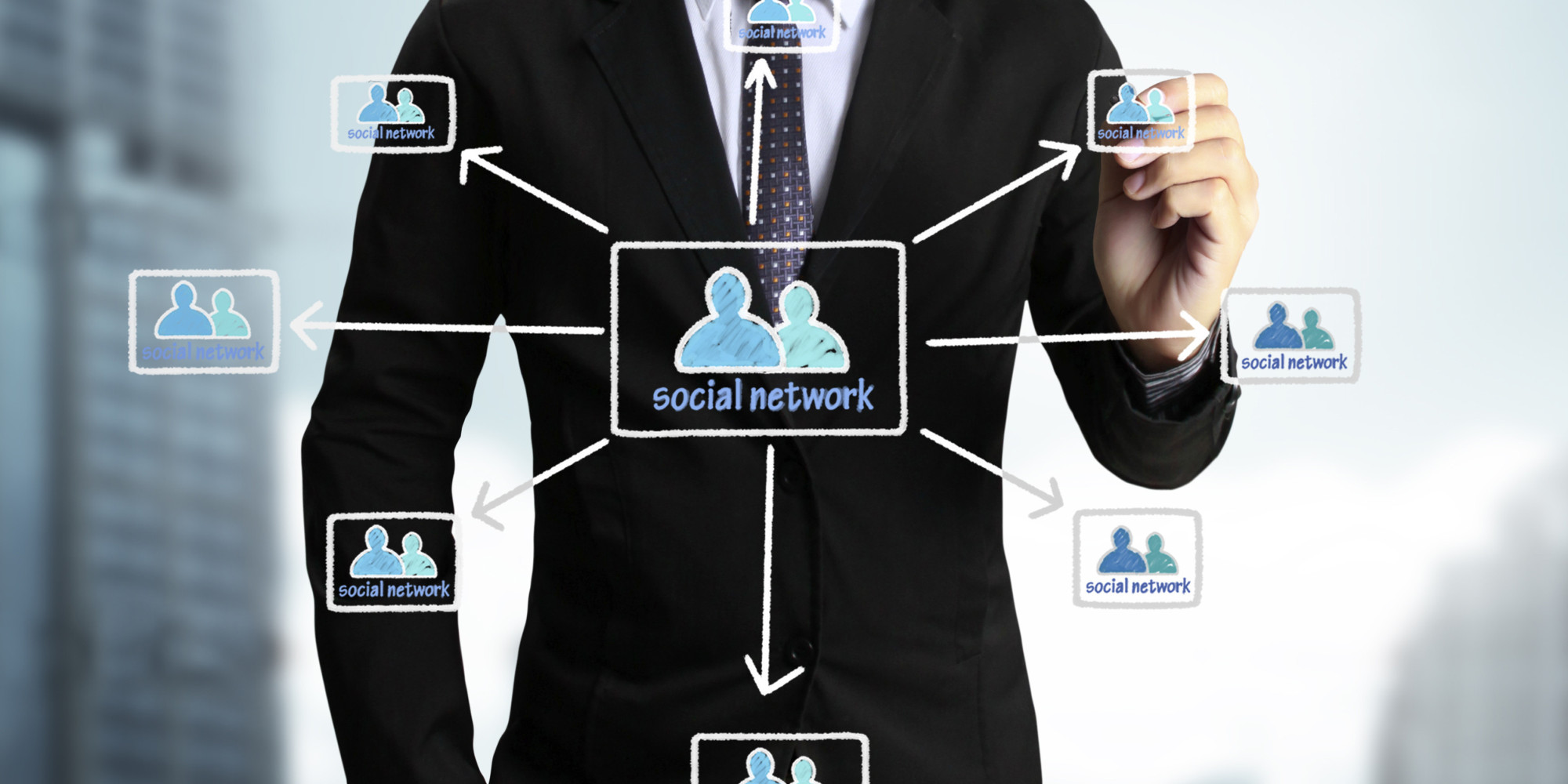 Business man drawing social network